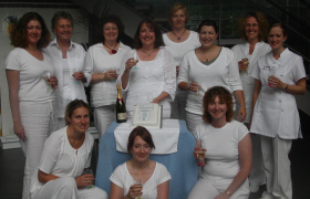 Jackie and her first Reflexology Diploma class celebrating Calming Influences accreditation with the AoR.